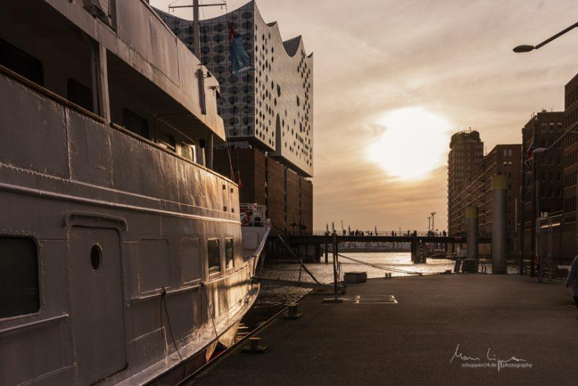 Die Elbphilharmonie und das Schiff Seite Deern im Hamburger Hafen vor Sonnenuntergang